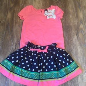 Hot Pink top with matching Polkadot skirt!